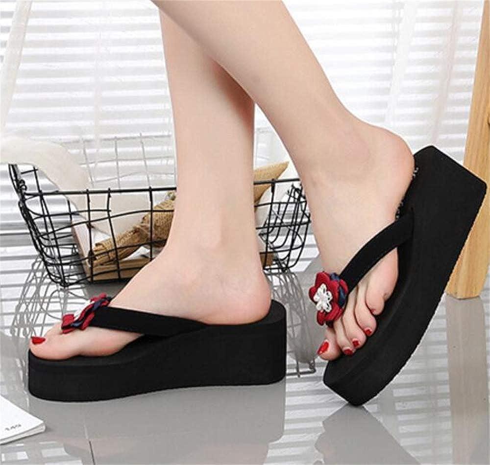 Womens Flowers Slipper Wedges Flip Flops Sandals Slippers Girls Beach Shoes