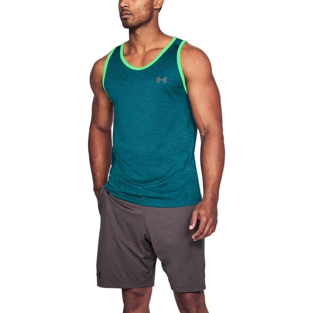 Under Armour Men's Tech Tank Top, Tourmaline Teal (717)/Graphite, Small