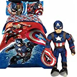 Jay Franco 5pc's Marvel CAPTAIN AMERICA CIVIL WAR Boys Bue & Red TWIN/FULL SIZE Comforter(71'' x 86'') + TWIN SIZE Sheet Set + CAPTAIN AMERICA PILLOW BUDDY