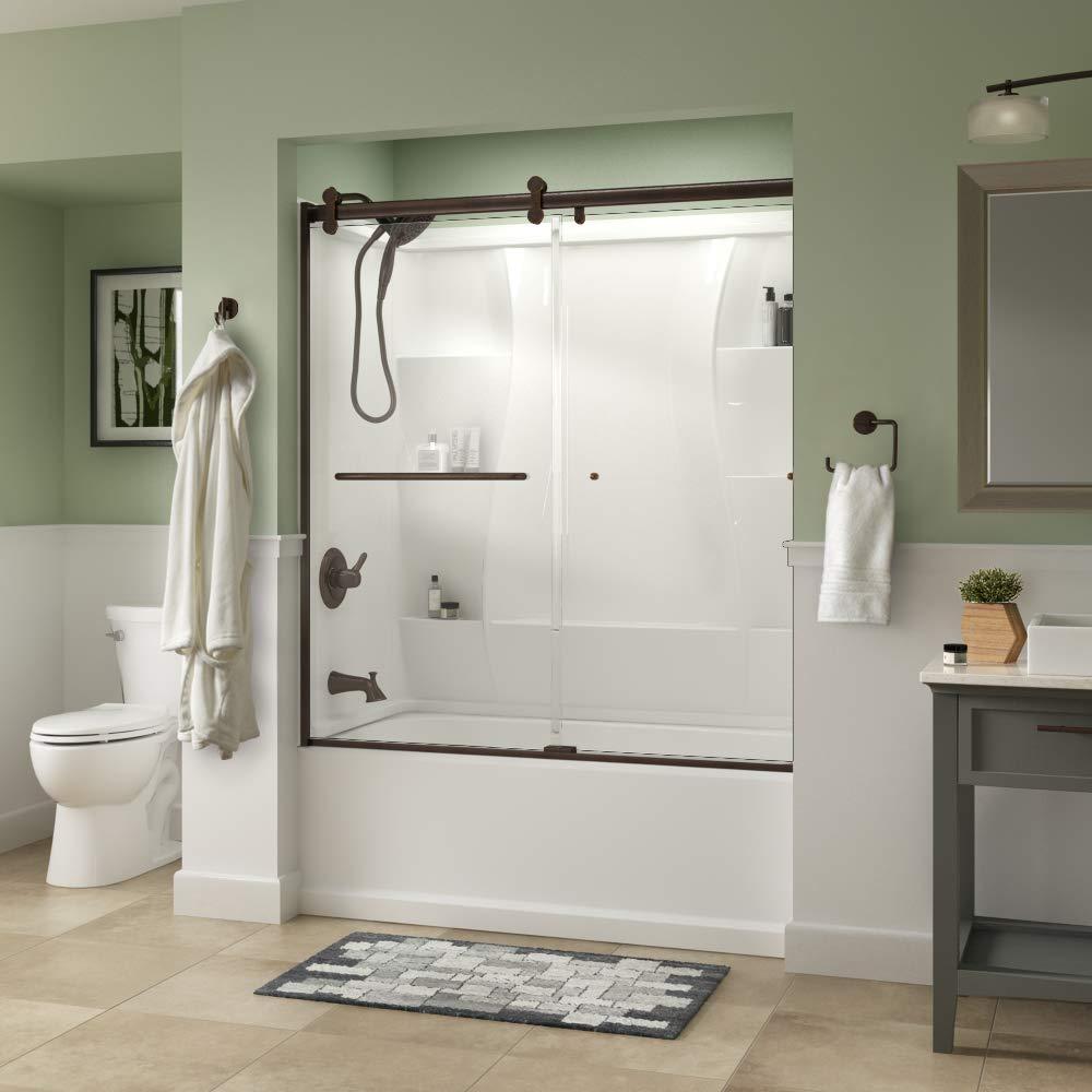Delta sd3927442 classic semi frameless contemporary sliding bathtub 60 x 58 3 4 bronze clear glass amazon com