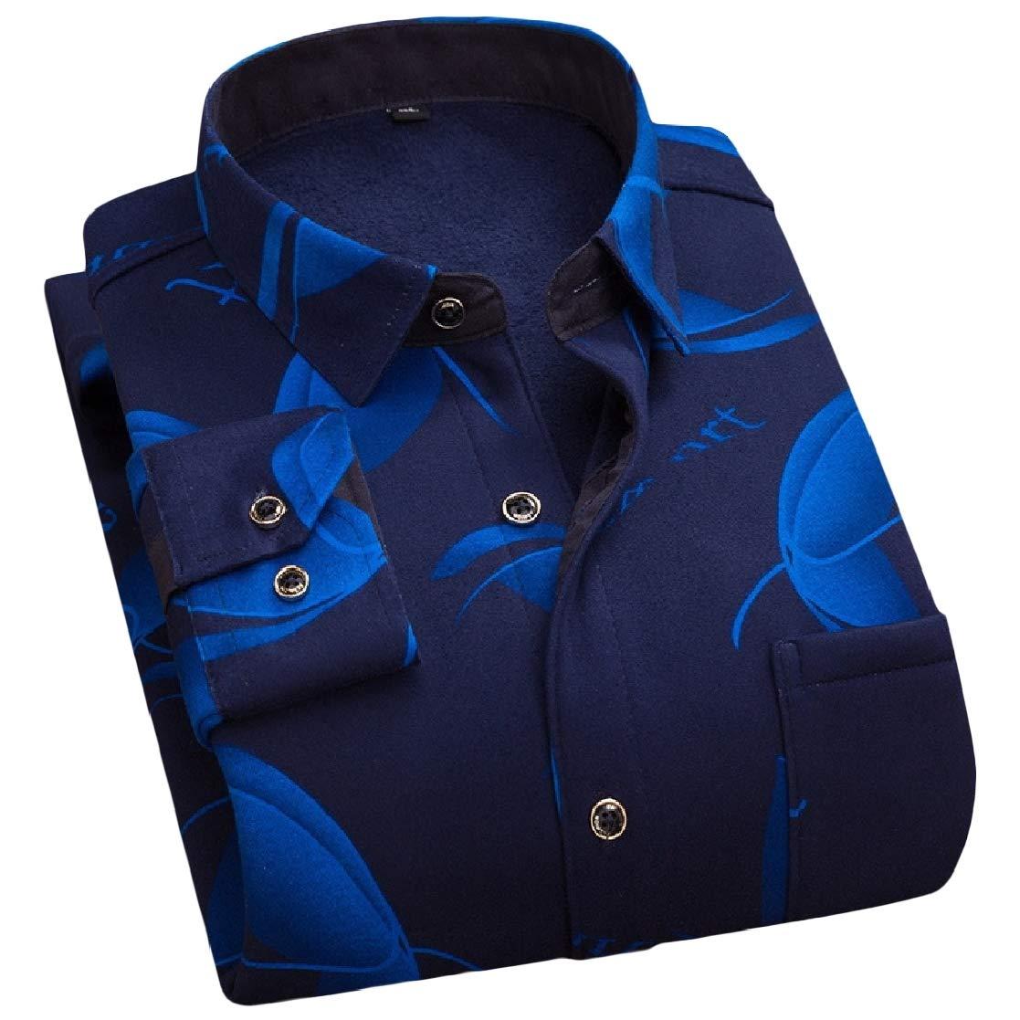 YUNY Mens Office Plaid Thickening Comfort Plus Velvet Dress Shirt Pattern19 M