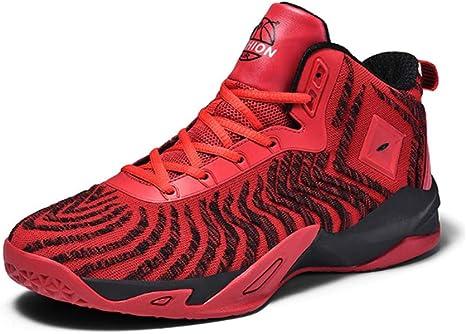 WFWPY High-Top Sneaker Calzado de Baloncesto Zapatillas de Deporte Ligeros Antideslizantes Correr Zapatillas Moda Goma Botas De Deporte para Correr,Rojo,US7.5/EU40: Amazon.es: Deportes y aire libre