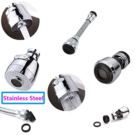 Socell Stainless Steel 360 Degree Rotate Faucet Internal Kitchen Faucet  Adapter Extender Faucet Sprayer Attachment for Restaurant, Home and ...