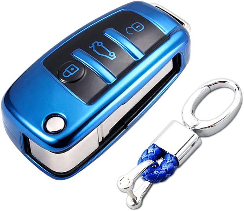Red etc TurningMax Keyless Entry Remote Cases Key Fob Cover with Keychain Full Protection Soft TPU Holder Shell for 3 Button Lip Key Compatible for Audi A3 A4 A6 A6L A8 TT Q7 S6