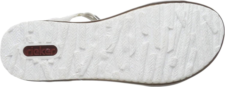 Rieker V0753-90, Sandales Bout fermé Femme Multicolore Ice Multi White Silver 90