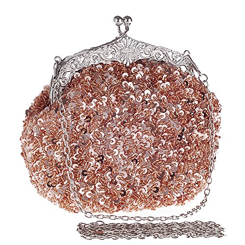 Silver Clutch Champagne Beaded Women Evening Handbag Bag Vintage Metal Shoulder Chain With Hattie 7wPIq4I
