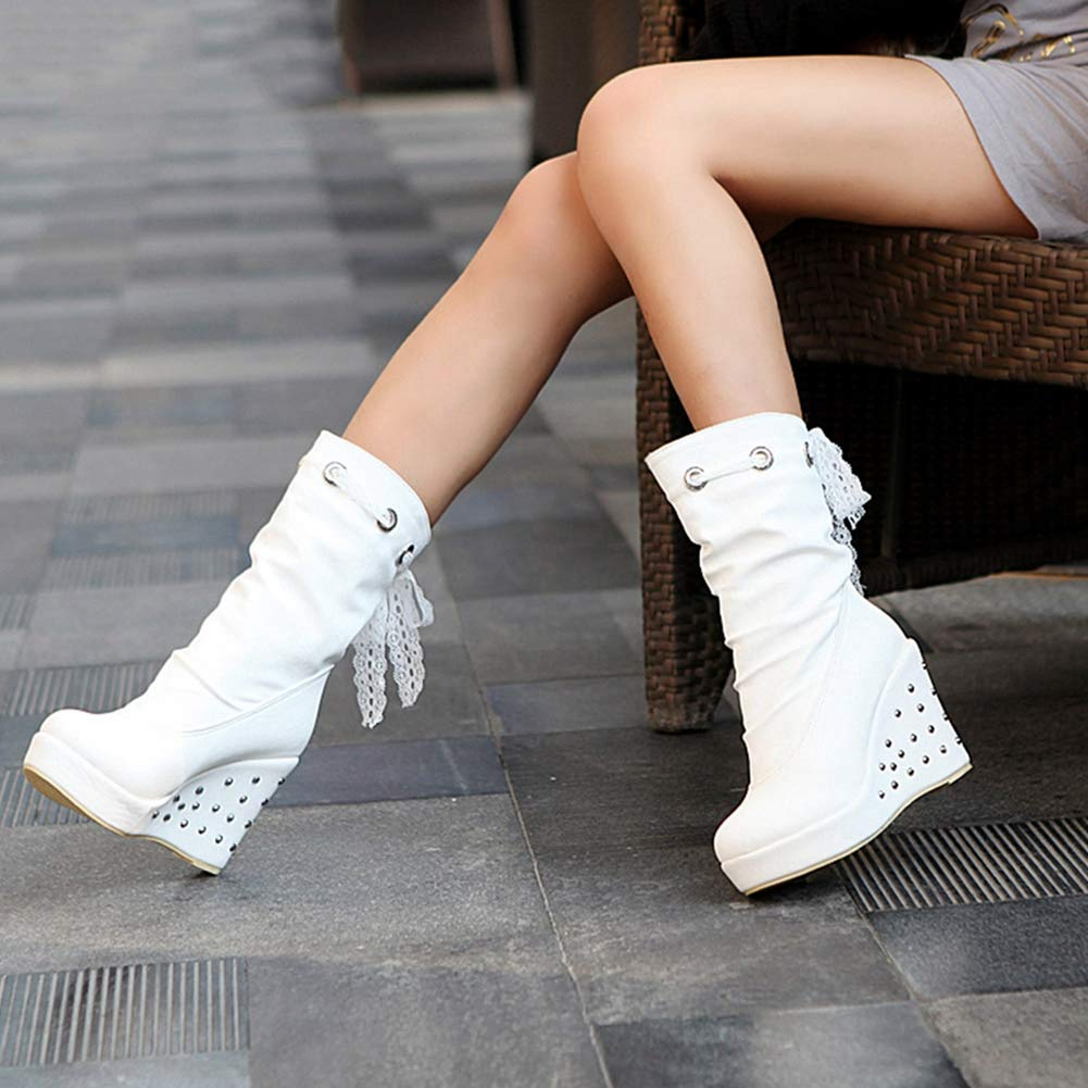 T-JULY Womens Slip On Shoes Mid Calf Boots Female Wedge Heels Winter Boots