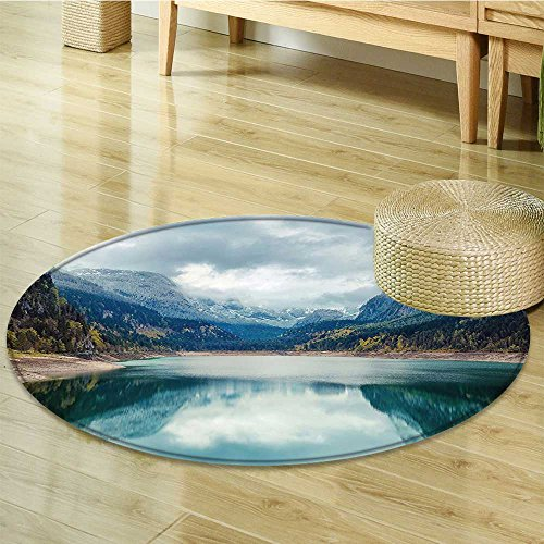 Anti-Skid Area Rug Alpine with Dramatic Sky and Mountains Journey Art Blue Green Grey Soft Area Rugs-Round 55