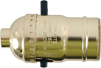 GE Lamp Socket, Push On/Off, Gold 52205