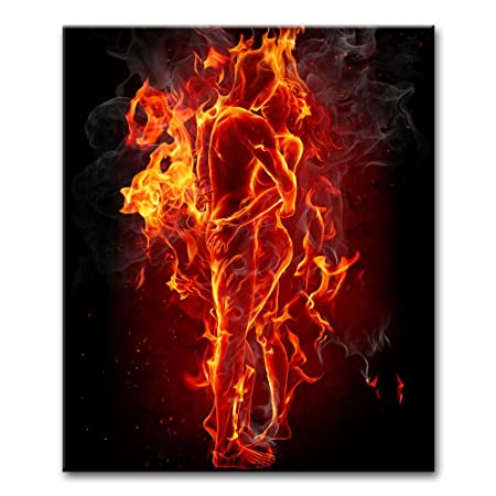 So Crazy Art – Canvas Print Wall Art Painting For Home Decor,Fire Man And Woman Couple Embrace Together And Kissing Paintings Modern Giclee Stretched And Framed Artwork The Picture For Living Room Decoration,People Pictures Photo Prints On Canvas
