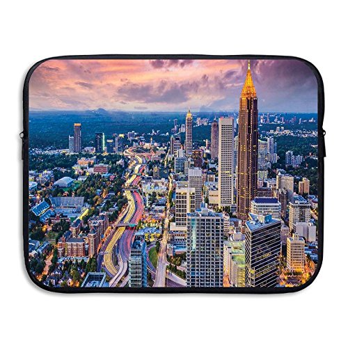 ALLX00QOQ Atlanta City Skyline At Sunset With Hazy Light Georgia Town Shock-Resistant Tablet Protective Bag Size 13 - Georgia Sunset Times