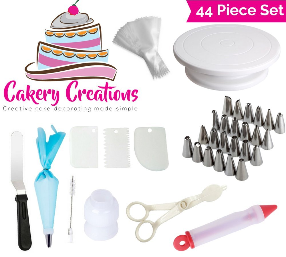 Cake Turntable (28Cm), Cake Decorating Supplies Kit 44 Piece Set Turntable Stand Frosting Tips Coupler Disposable Pastry Bags Icing Spatula Cake Brush Reusable Silicone The Cakery