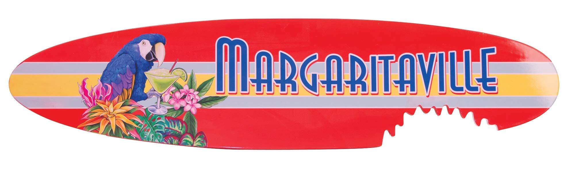 Margaritaville Outdoor Indoor/Outdoor Surfboard Shark Bite Garden Sign Wooden Wall Art, Margaritaville