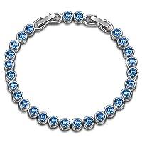 Susan Y Ocean Dream Tennis Bracelet Women with Swarovski Crystals, Patent Design, Elegant Jewellery Box Every Special Moment