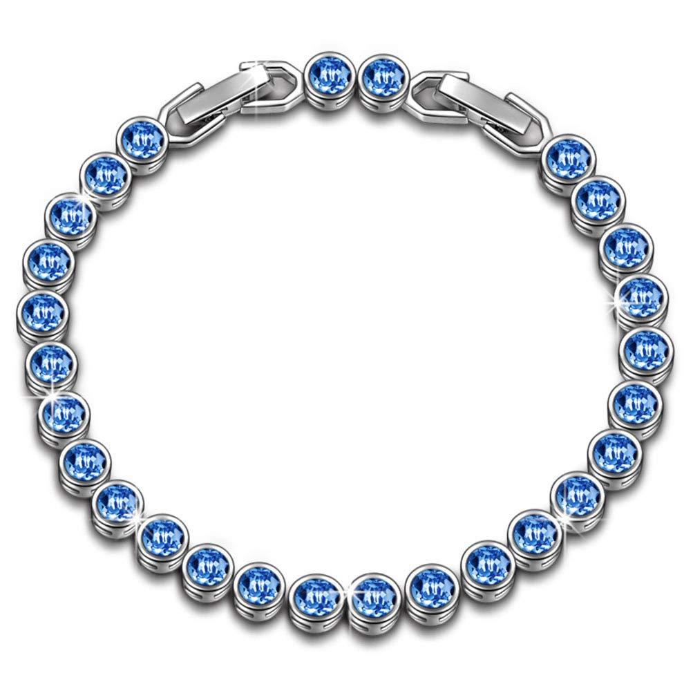 Susan Y Pulsera Mujer con Azul Cristales de Swarovski Regalos, Viene con Caja de Regalo