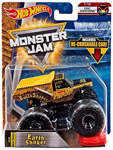 Hot Wheels Monster Jam 2018 Epic Additions Earth Shaker  Includes Re Crushable Car  1 64 Scale