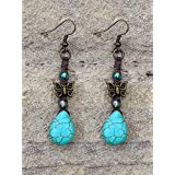 A Butterfly With Teardrop Macrame Hemp Earrings In Turquoise Blue Antique Brass