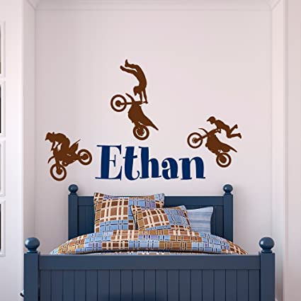 Amazoncom Name Wall Decal Boy Dirt Bike Wall Decals Motocross