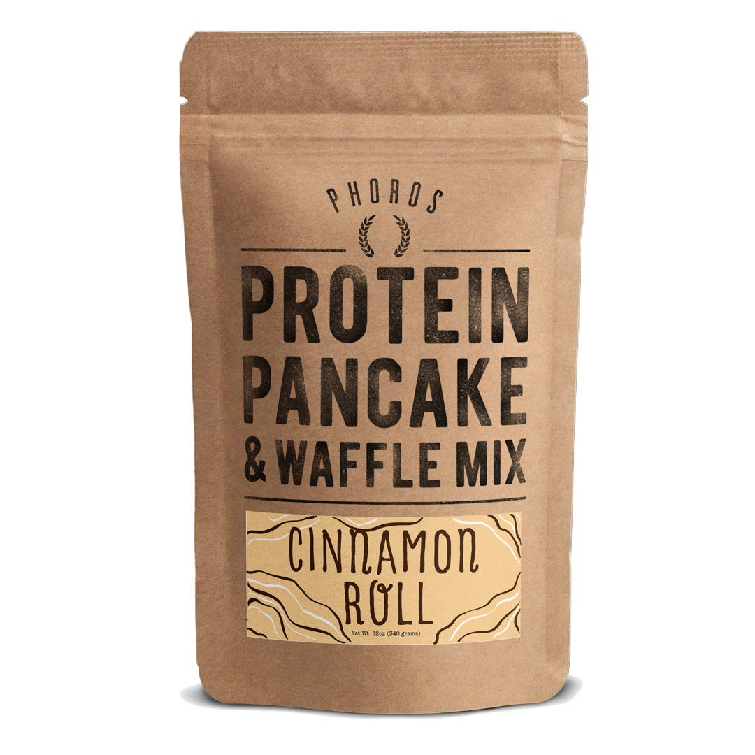 Protein Pancake Mix by Phoros Nutrition, High Protein Low Carb, 12oz (Cinnamon Roll)