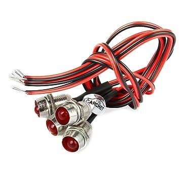 CARCHET® 4 x Indicador Luz Lámpara Bombilla LED 12V DC para Coche Barco Rojo Universal