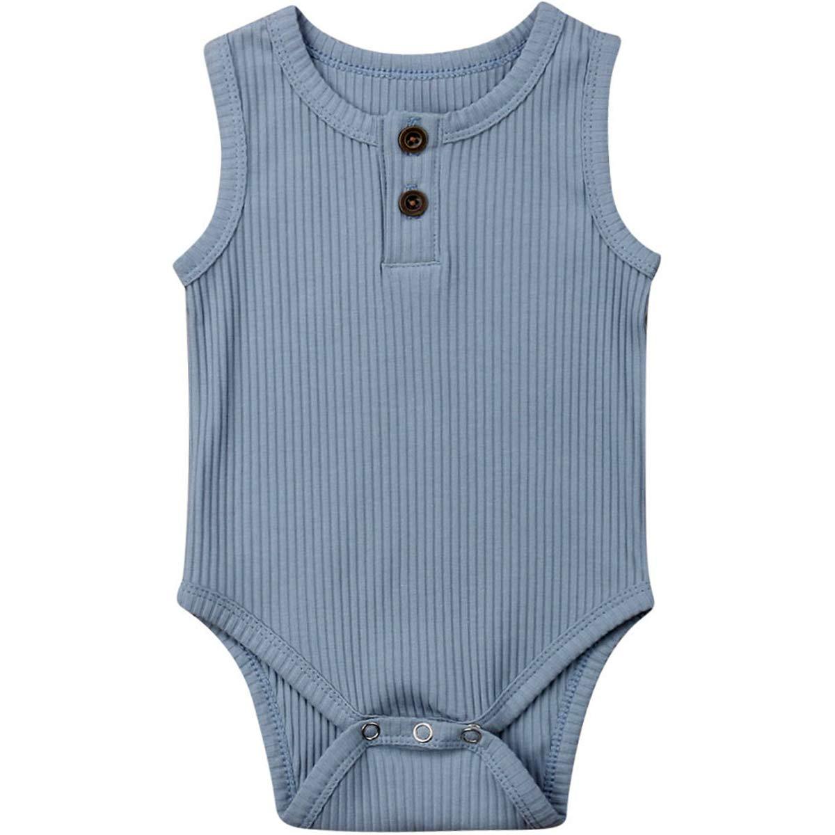 Kuriozud Newborn Infant Unisex Baby Boy Girl Sleeveless Button Solid Romper Bodysuit One Piece Jumpsuit Outfit Clothes