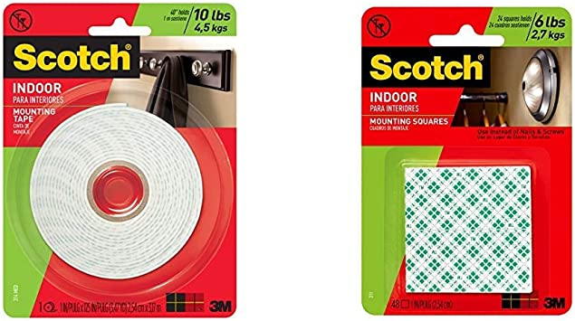 1-Roll Scotch Mounting White 1-Inch x 125-Inches 314P Fastening /& Surface Protection 314 783961045463 Scotch Indoor Mounting Tape