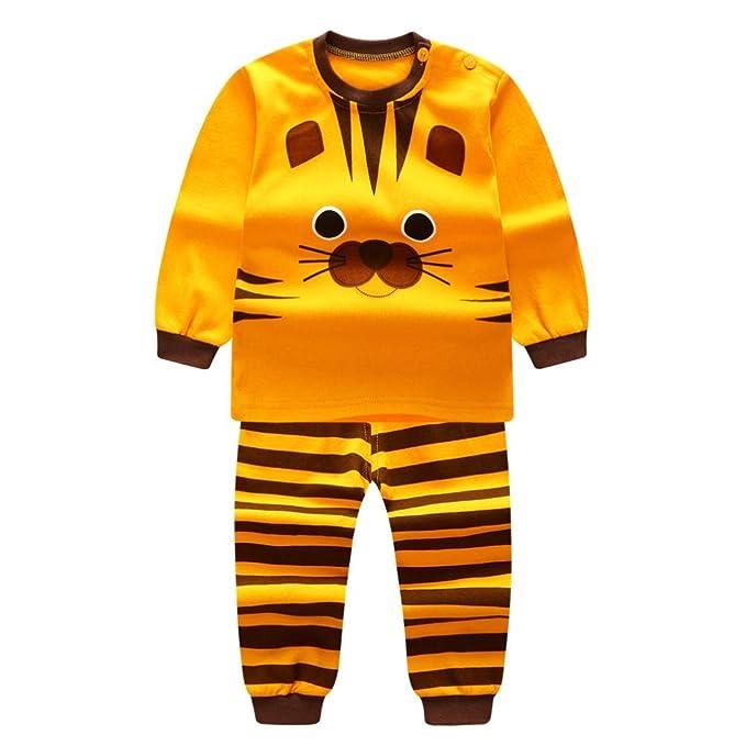 Yannerr Bebé niña niño Dibujos Tigre Inferior Camiseta Tops+Rayas Pantalones Conjunto de Dos Piezas