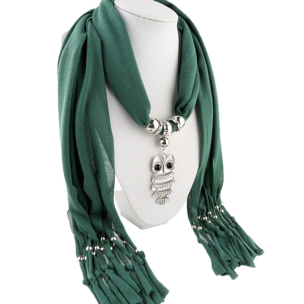 JAGENIE Womens Necklace Sciarpa scialle con fascino vintage elegante gufo ciondolo nappe avvolgere 10
