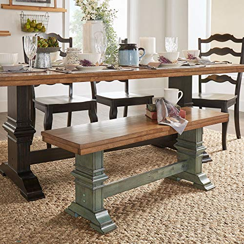 Inspire Q Eleanor Two-Tone Trestle Leg Wood Dining Bench by Classic Sage Antique, Oak Finish, Distressed