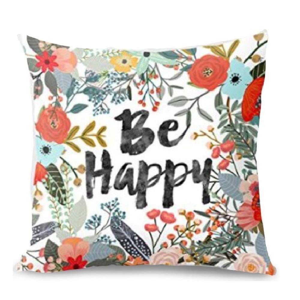 Foozoup Happy Halloween Bat Pumpkin Cotton Linen Home Decorative Throw Pillow Case Cushion Cover Sofa Couch 18 x 18 inch (4 Pack)