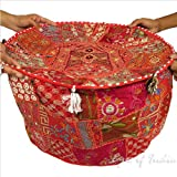22'' RED INDIAN ROUND OTTOMAN POUF DECORATIVE POUFFE Pillow Ethnic Decor Art