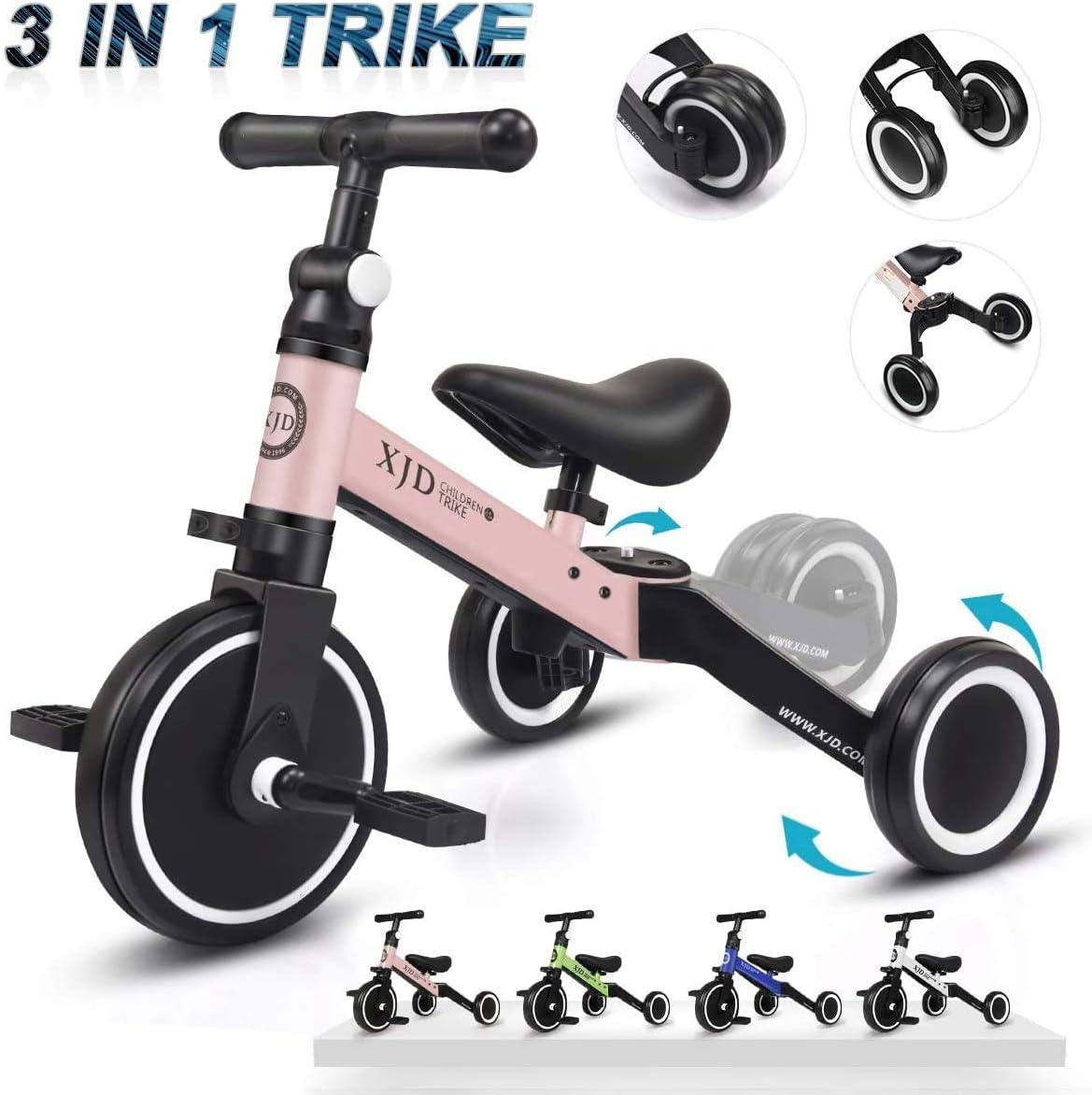 XJD 3 in 1 Kinder Dreiräder für 13 Jahre Alt Kleinkind Jungen Mä (Hellrosa)
