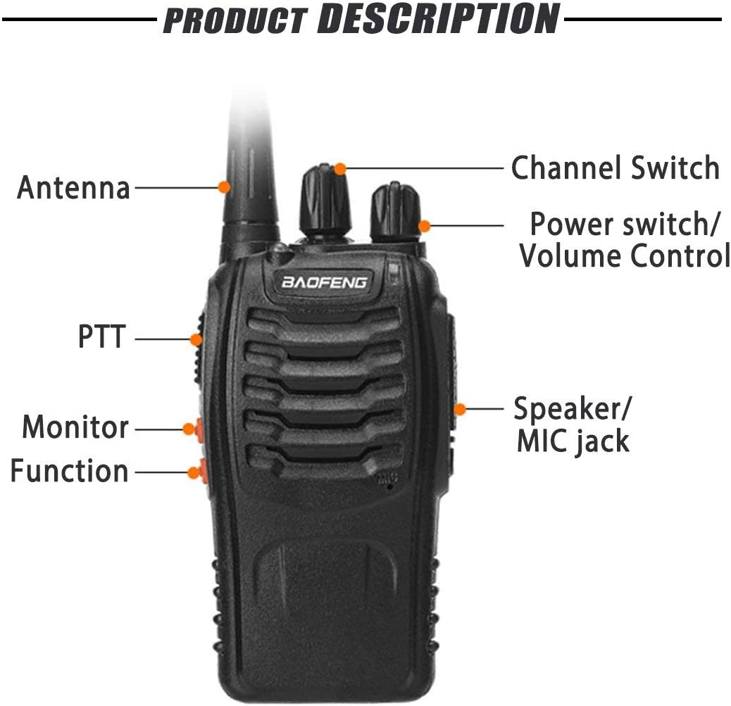 Pack of 2 BFTECH BF-888S Two Way Radios Long Range Walkie Talkie Rechargeable Walkie Talkies Handheld Radio Built in Flashlight with Earpiece