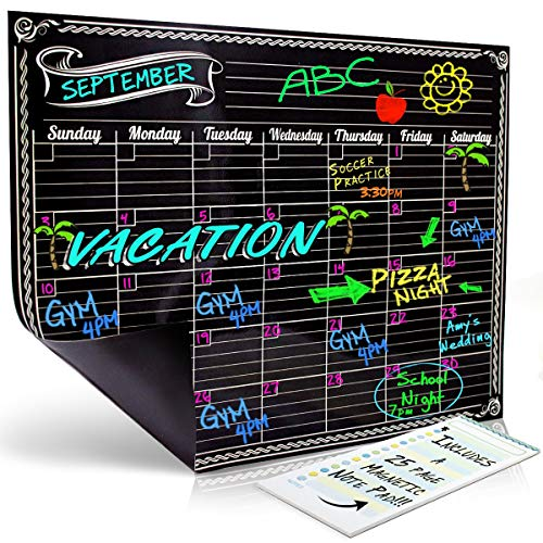 Cool Calendar - Dry Erase Magnetic Refrigerator Monthly Calendar | Black Flexible Magnet Board Design | Monthly for Kitchen Fridge| Use w/ Fluorescent or Neon Liquid Chalk Markers (12x16 Monthly Calender)