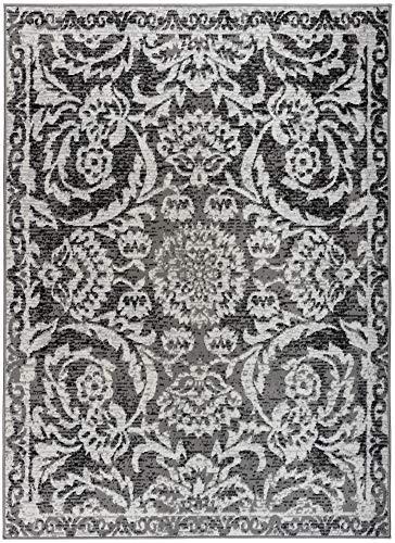 Antep Rugs Kashan King Collection Floral Polypropylene Indoor Area Rug (Grey/Black, 5 x 7)