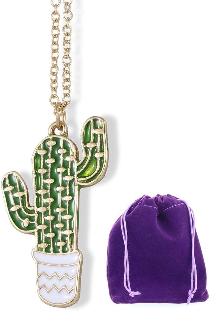 Cactus Necklace | Jewelry Cacti Charm Stuff Gifts for Women Teen Men Arizona Pendant Cactus Succulent Decor