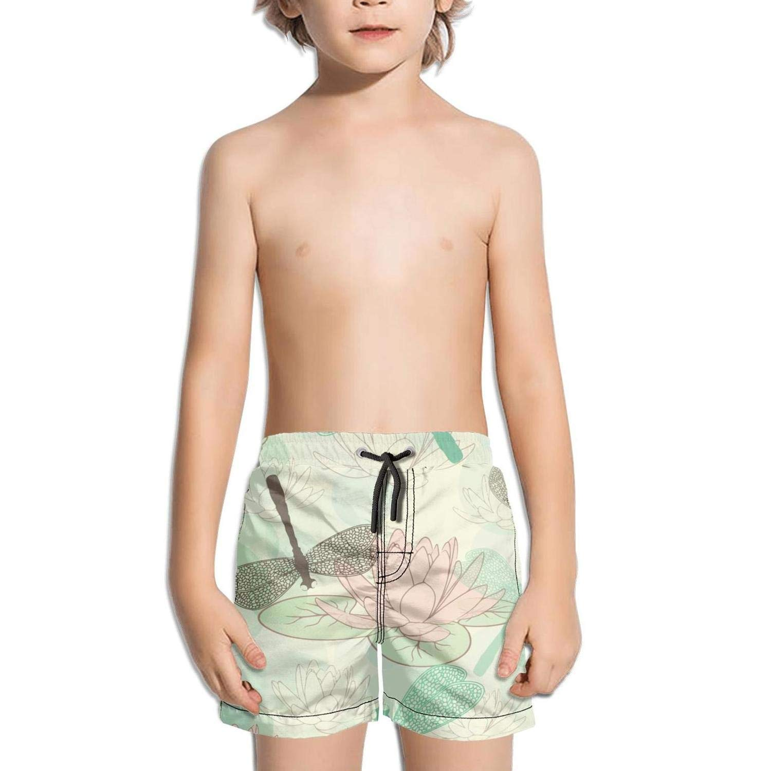Lenard Hughes Boys Quick Dry Beach Shorts with Pockets Lotus Flower Dragonfly Swim Trunks for Summer