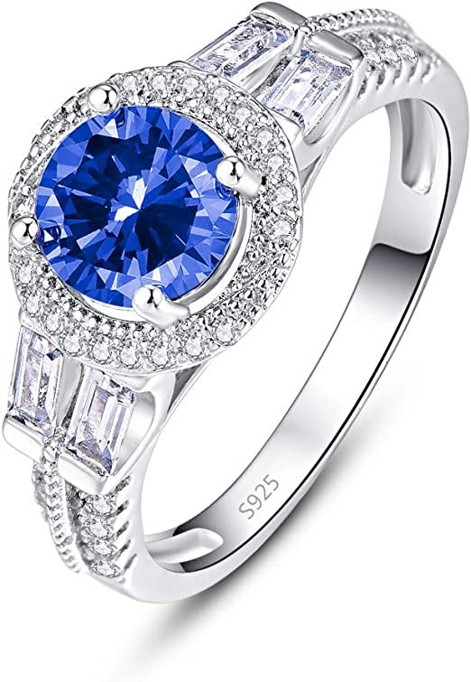 PAKULA 925 Sterling Silver Women Simulated Blue Sapphire Halo Engagement Ring