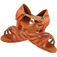 Zapatos de Baile Latino Niña,Calzado de Baile Suave y Cómodo Zapatillas de Baile de Salón Zapatos de Baile de Moda de Tacón para Niños y Niña, Marrón