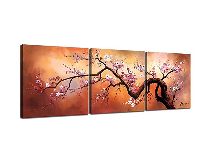Modern Home Decor Hand painted Wall Art Oil Paintings on Canvas 3 Piece Cherry Blossom Tree Pictures for Living Room Bed Room Kidchen Office, GalleryWrap Framed Stretched Ready to Hang (60''W x 20''H)