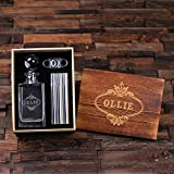 Personalized Engraved Etched Scotch Whiskey Decanter, Metal Flask Cigar