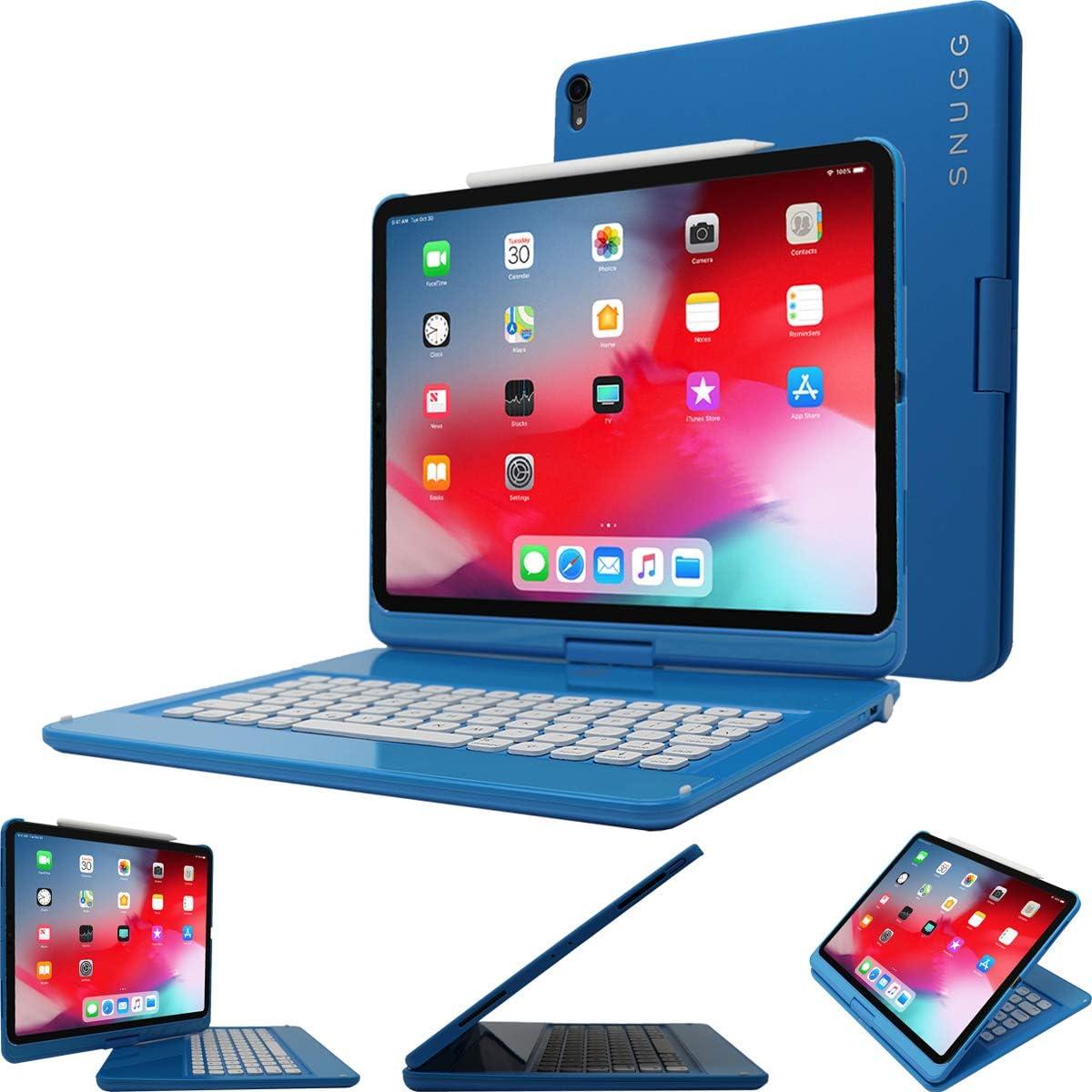 Snugg Funda con teclado Bluetooth inalámbrico retroiluminado y giratorio de 360 ° para Apple iPad Pro 12,9 pulgadas Azul eléctrico