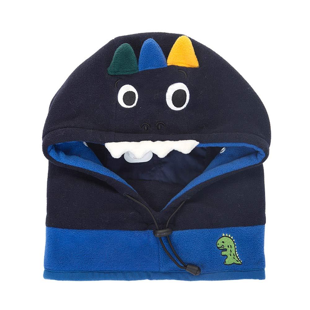"Xinqiao Baby Girls Boys Winter Hat Earflap Mask Hood Scarf Skull Cartoon Caps (Large(Head Girth 18""-21""), Navy Dinosaur)"