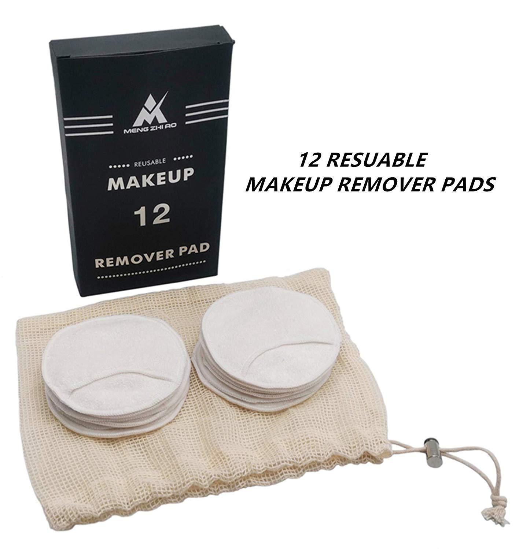 MEANS Almohadillas desmaquilladoras reutilizables con bolsa de almacenamiento de algod/ón Almohadilla de tela de algod/ón facial lavable suave y sin qu/ímicos 12 paquetes