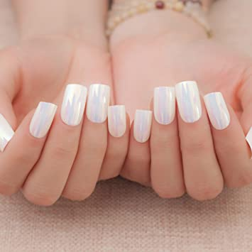 EnForten Nail Art Symphony Shell Color White Chrome Metal Shine Fake Fingernails Artificial False Tips