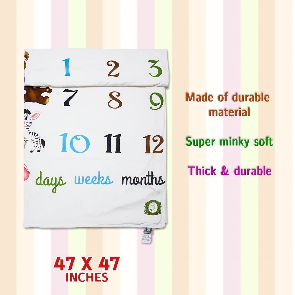 Spunky Sprouts Premium Double Layer Milestone Growth Blanket (WOOD ARROWS INCLUDED) Large Size. Weeks & Months-Great Gift For Newborns and Expecting Moms Photography for Boys or Girls by Spunky Sprouts (Image #6)