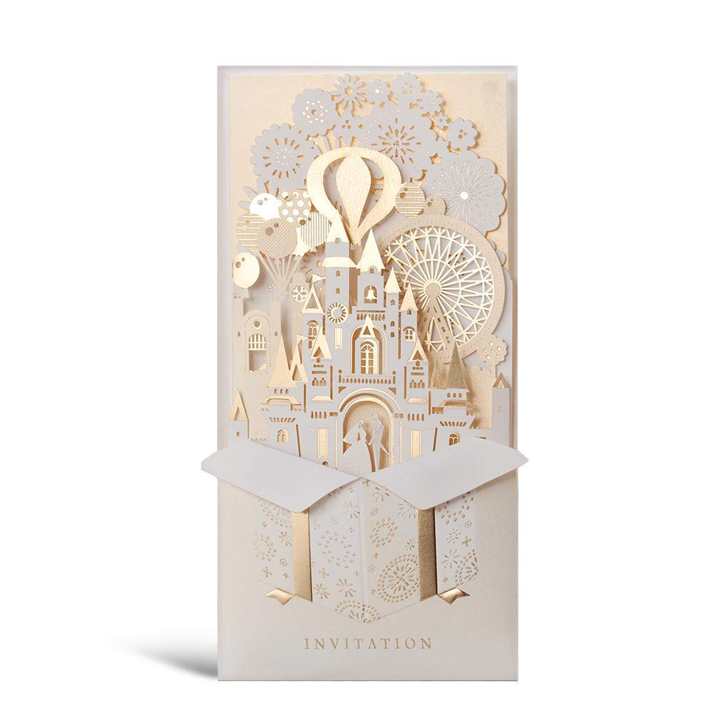 WISHMADE Laser Cut 3D Wedding Invitations Cards with Gold Gilding Bride and Groom in Castle Invitation for Engagement Anniversary Marriage Mr Mrs Invites (Pack of 50pcs)