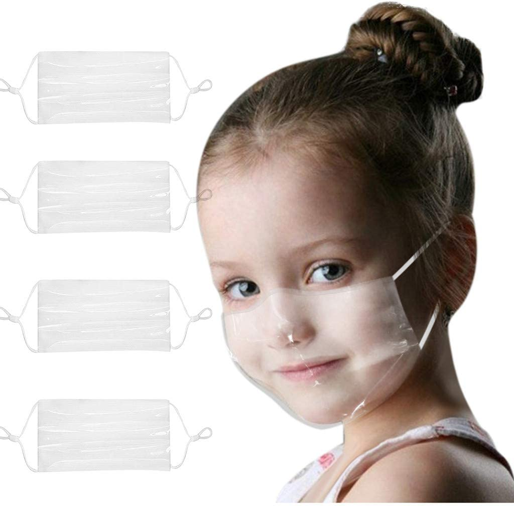 Indoors and Outdoors Visible Expression for Deaf and Hard Of Hearing People for Adults /& Kids 4Pcs, B Bridaer Reusable and Washable Transparent Face/_Mask
