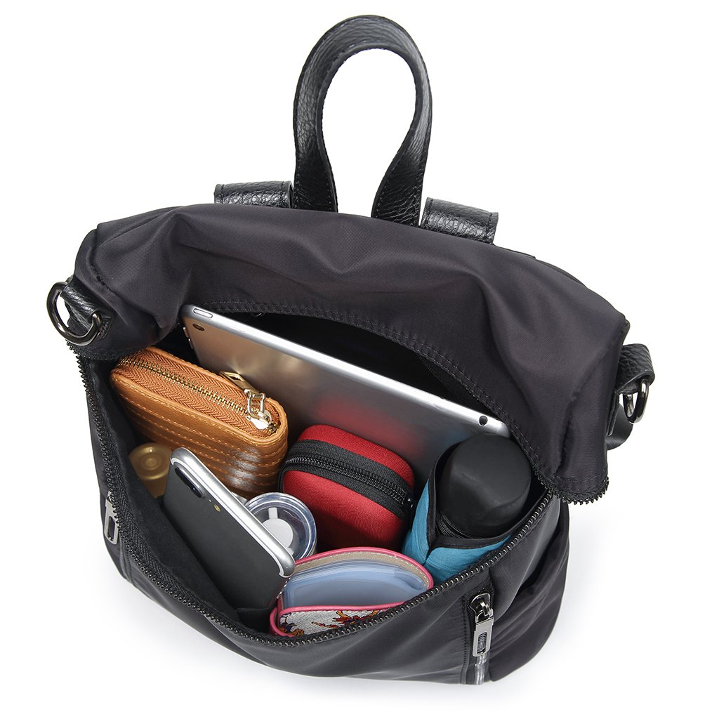 Thobu Women Fashion Nylon Backpack Purse Lightweight Schoolbag Travel Casual Daypack-Black by Thobu (Image #9)
