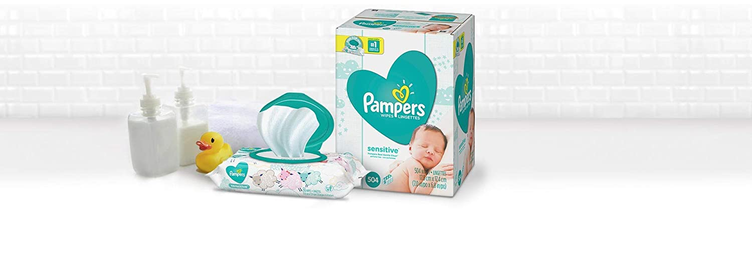 Baby Wipes, Pampers Sensitive Water Baby Diaper Wipes, Hypoallergenic and Unscented, 504 Count Total Wipes